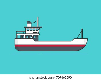 Ship vector illustration, line outline style boat isolated, small empty vessel flat cartoon design
