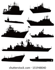 Ship vectors. Detailed silhouettes collection