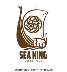 ship Viking logo vector simple illustration isolated on a white background, a Viking boat with protective wooden boards, sailing a Viking boat