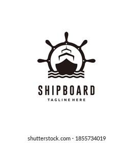 Ship and vintage ship wheel logo design icon vector