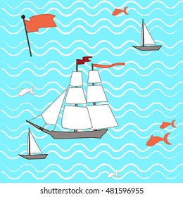 Ship and waves children pattern