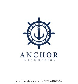 Ship wheel and anchor logo template. Vector Illustration Isolated on a White Background