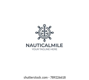 Ship wheel and anchor logo template. Line marine vector design. Nautical illustration