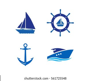 Ship, Wheel, Anchor and Yacht logo - isolated vector illustration
