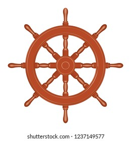 Ship wheel. Classic style. 3D effect vector