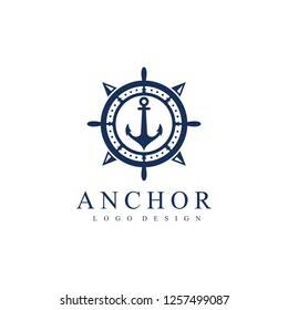 Ship wheel, compass and anchor logo template. Vector Illustration Isolated on a White Background