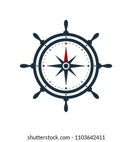Ship wheel and compass rose on white background. Nautical icon design.