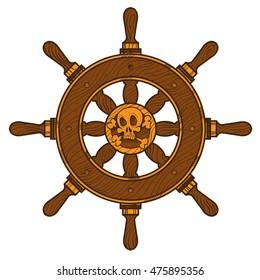 Ship wheel. Graphic on the marine theme.