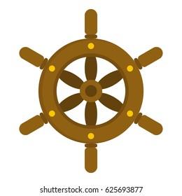 Ship wheel icon flat isolated on white background vector illustration