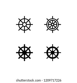 Ship Wheel Icon Logo Vector Symbol