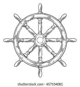 Ship wheel isolated on white background. Vector vintage engraving illustration for poster and web.