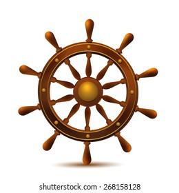 Ship wheel marine wooden vintage vector illustration isolated on white background.