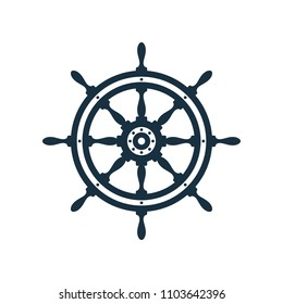 Ship wheel on white background. Nautical icon design.