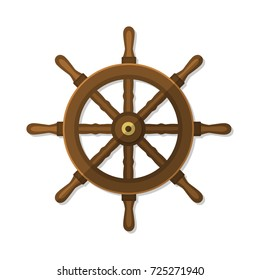 Ship wheel, rudder, steering flat style vintage vector illustration isolated on white.