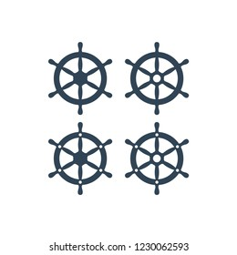 Ship wheel with six handles vector icon. Ship's steering wheel simple icons set.