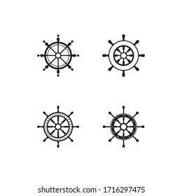 Ship wheel steering symbol vector icon illustration