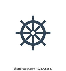 Ship wheel vector icon. Ship's steering wheel simple design.
