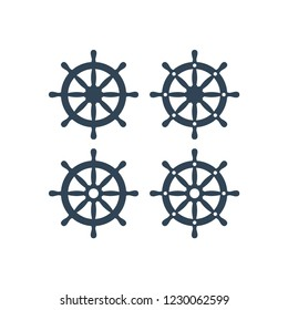 Ship wheel vector icon. Ship's steering wheel simple icons set.