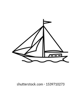 Ship with wind power icon, illustration design template