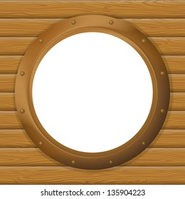 Ship window round bronze porthole on wood wall with empty white place. Eps10, contains transparencies. Vector