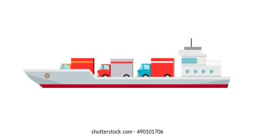 Ship worldwide warehouse delivering. Logistics container shipping and distribution. Transportation to any part of world. Delivering by water sea ocean. Loading and unloading boxes. Vector illustration