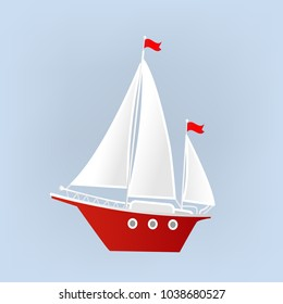 Ship, Yacht, Sailboat. Isolated object. Element for design. Vector illustration.