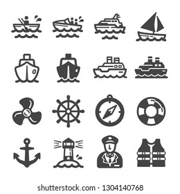 ship,boat icon set,vector and illustration