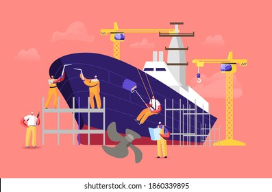 Shipbuilding Concept. Engineers Male Characters Assembling Nautical Vessel Stand on Scaffold in Dock Welding and Painting Ship. Building and Manufacturing Industry Cartoon People Vector Illustration
