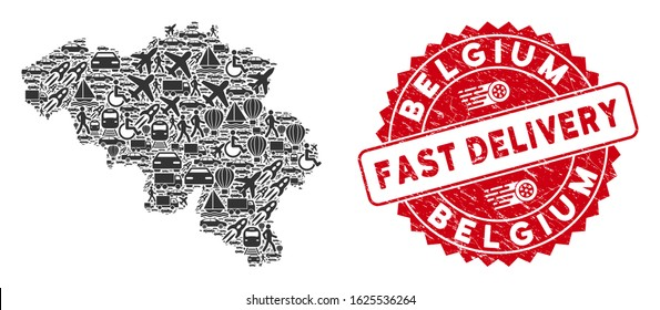 Shipment collage Belgium map and distressed stamp watermark with FAST DELIVERY message. Belgium map collage formed with gray random vehicle icons. Red round FAST DELIVERY stamp with unclean texture.