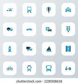 Shipment icons colored set with pickup, moped, camion and other parking elements. Isolated vector illustration shipment icons.