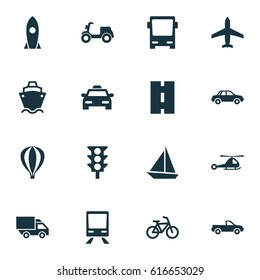 Shipment Icons Set. Collection Of Automobile, Van, Way And Other Elements. Also Includes Symbols Such As Airship, Camion, Yacht.