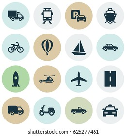 Shipment Icons Set. Collection Of Automobile, Truck, Tanker And Other Elements. Also Includes Symbols Such As Flight, Helicopter, Pickup.