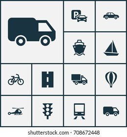 Shipment Icons Set. Collection Of Railway, Tanker, Road Sign And Other Elements. Also Includes Symbols Such As Train, Camion, Chopper.