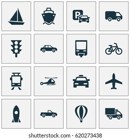 Shipment Icons Set. Collection Of Road Sign, Automobile, Spaceship And Other Elements. Also Includes Symbols Such As Tram, Taxi, Automobile.