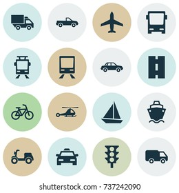 Shipment Icons Set. Collection Of Way, Truck, Skooter And Other Elements. Also Includes Symbols Such As Traffic, Way, Ship.