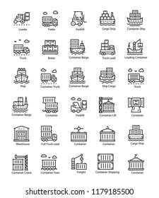Shipment Line Vector Icons