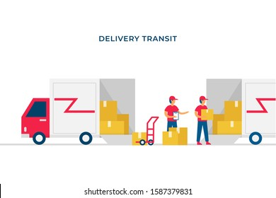 Shipment package transit to next pickup point vector flat illustration design. Open box delivery truck full of package moved to other car with courier officer checking up.
