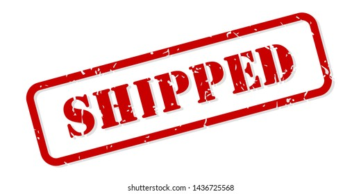 Shipped red rubber stamp vector isolated