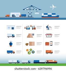 Shipping, air transport, trucks, trains; sea freight, production, warehouse, selling and delivery process vector illustration. Logistic delivery template.