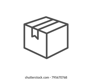 Shipping box line icon. Logistics delivery sign. Parcels tracking symbol. Quality design element. Editable stroke. Vector