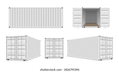 Shipping cargo containers with open, closed doors realistic set. Reusable large intermodal steel freight boxes for storage, transportation. Vector containers collection.
