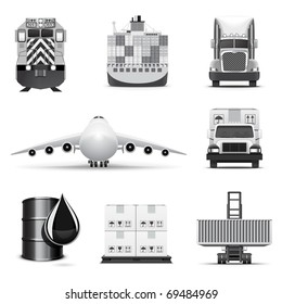 Shipping and cargo icons | B&W series