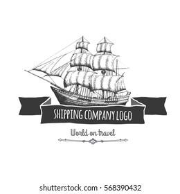 Shipping company logo. Vector isolated illustration.