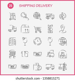 Shipping Delivery Hand Drawn Icon Pack For Designers And Developers. Icons Of Globe, Location, Search, Delivery, Online, Shipping, Shopping, Transport, Vector