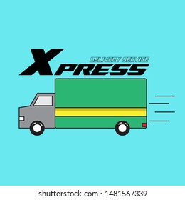 Shipping and delivery icon. Vector symbol suitable for extreme corporate identity design of courier post office or parcel delivering corporation.