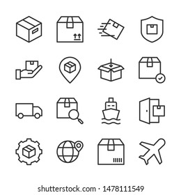 Shipping and delivery line icons set vector illustration. Contains such icon as   fast delivery, protection, express logistics and more. Editable stroke