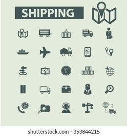 Shipping, delivery services, logistics  icons