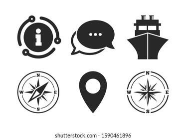 Shipping delivery sign. Chat, info sign. Windrose navigation compass icons. Location map pointer symbol. Classic style speech bubble icon. Vector