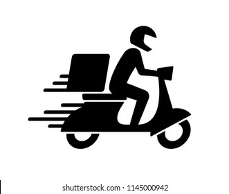Shipping fast delivery man riding motorcycle icon symbol, Pictogram flat design for apps and websites, Track and trace processing status, Isolated on white background, Vector illustration