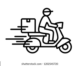 Shipping fast delivery man riding motorcycle icon symbol, Pictogram flat outline design for apps and websites, Track and trace processing status, Isolated on white background, Vector illustration